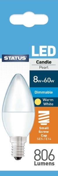 Dimmable LED Candle Bulbs E14 SES 8W (60W) Watt Warm White Frosted Bulbs x 3